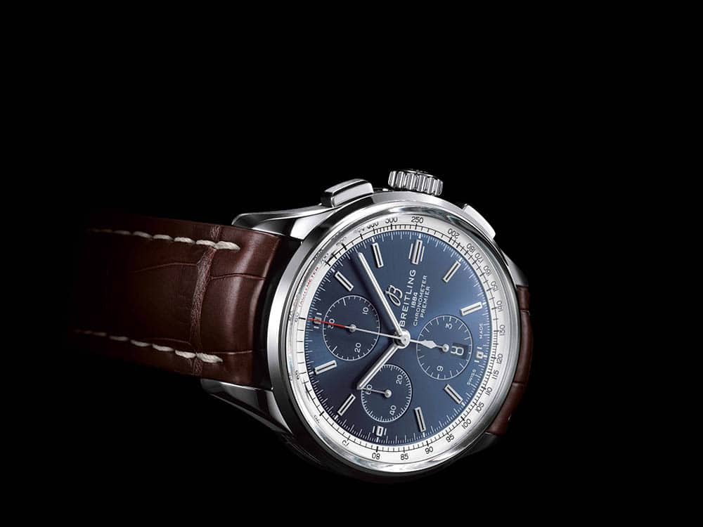 Premier Chronograph 42 with blue dial and brown alligator leather strap